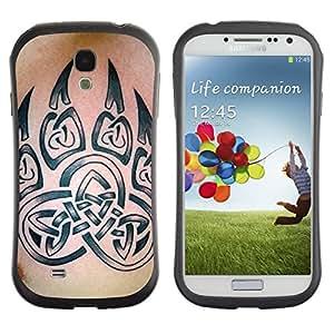 "Hypernova Slim Fit Dual Barniz Protector Caso Case Funda Para SAMSUNG Galaxy S4 IV / i9500 / i9515 / i9505G / SGH-i337 [Bear Claw Celtic Tinta Modelo de la piel""]"