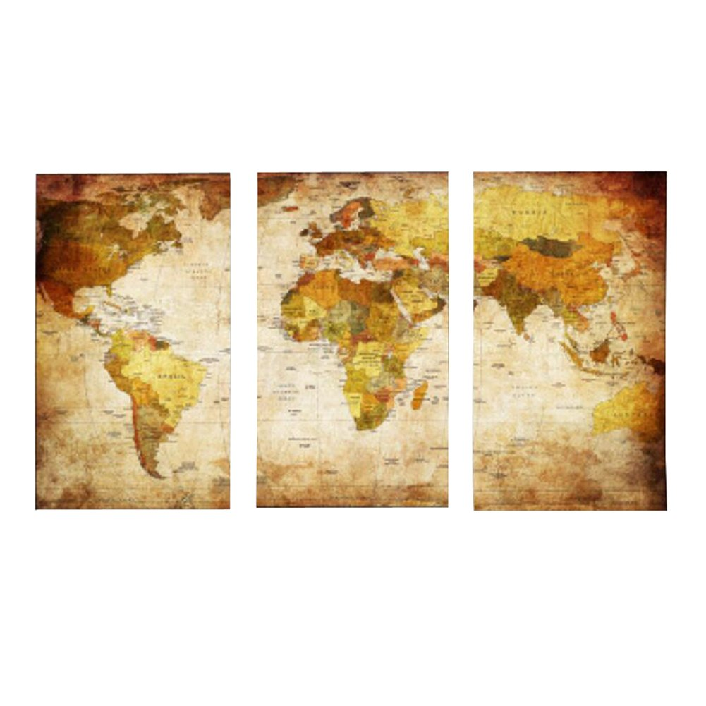Amazon.com: Hippodoctor Wall Art 3 Panel Canvas Posters World Map ...