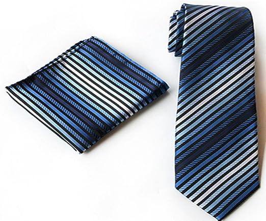 Goodvk Corbata de Hombre Moda de Negocios Azul Ocasional Vestido ...