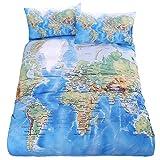 LightInTheBox Duvet Cover Pillow Shams Bedding Set, Soft Microfiber Cotton World Map Design Printed Blue Twin Full Queen King Size (Twin)