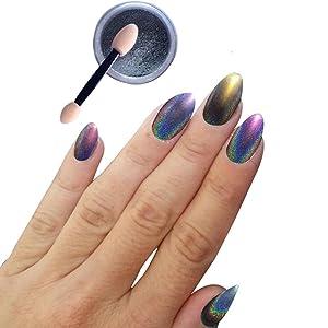 Nail Glitter Powder, Misaky 1g/ Box Laser Sliver Shinning Nail Mirror Powder Makeup Nail Art DIY