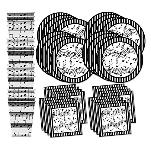Music Notes Birthday Party Supplies Set Plates Napkins Cups Tableware Kit for 16 ()