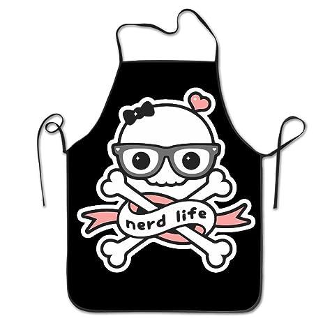 amazon com skull nerd life chef kitchen cooking and baking bib