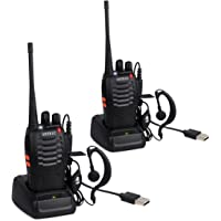 ESYNiC Walkie Talkies 2 pcs Long Range Two-Way Radio USB Cable Charging UHF 400-470MHz Walky Talky with Earpieces Flashlight 16CH Single Band FM Handheld Transceiver