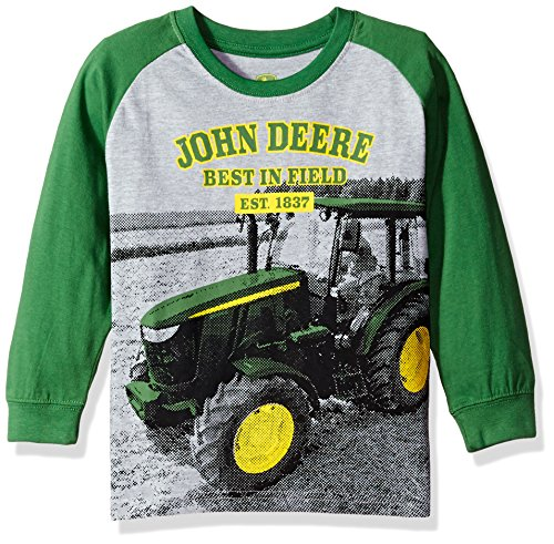 - John Deere Boys' Little Long Sleeve Raglan Tee, Grey Tractor, 5
