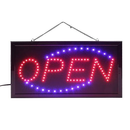Letrero luminoso LED, Bombilla de cartel con mensaje OPEN, 48 cm x 25 cm x 2 cm