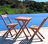 Leisure Zone Wooden Balcony Set Garden Table and Chairs-Classic 3 Piece Garden Folding Dining Furniture Set- Easy Folding Chairs and 1 Square Table Solid Acacia Wood 2 Year Warrant