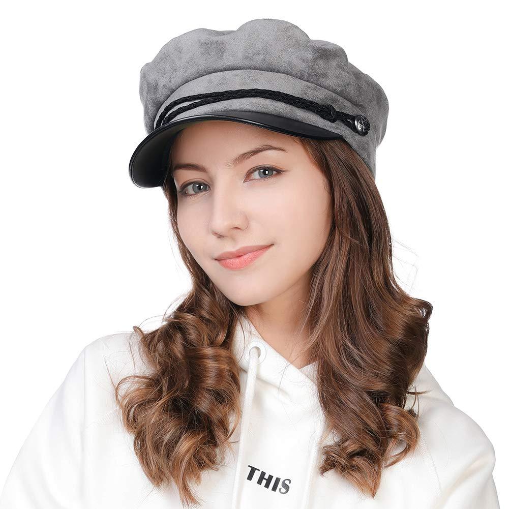 3c12a4deafce9 FancetAccessory Fashion Suede Newsboy Cap Sailor Fiddler Greek Hat Cotton  Lined PU Visor 56-59CM Comhats