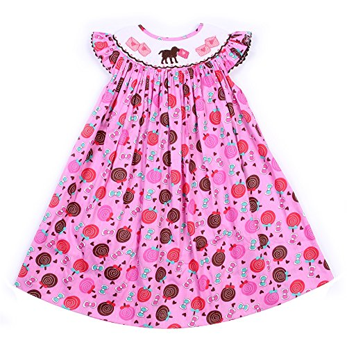 Babeeni Girl Pink Dress With Cute Smocked Patterns Around The Neck, Angel Sleeves Bishop For Valentine Occasion (Angel Sleeve Bishop)