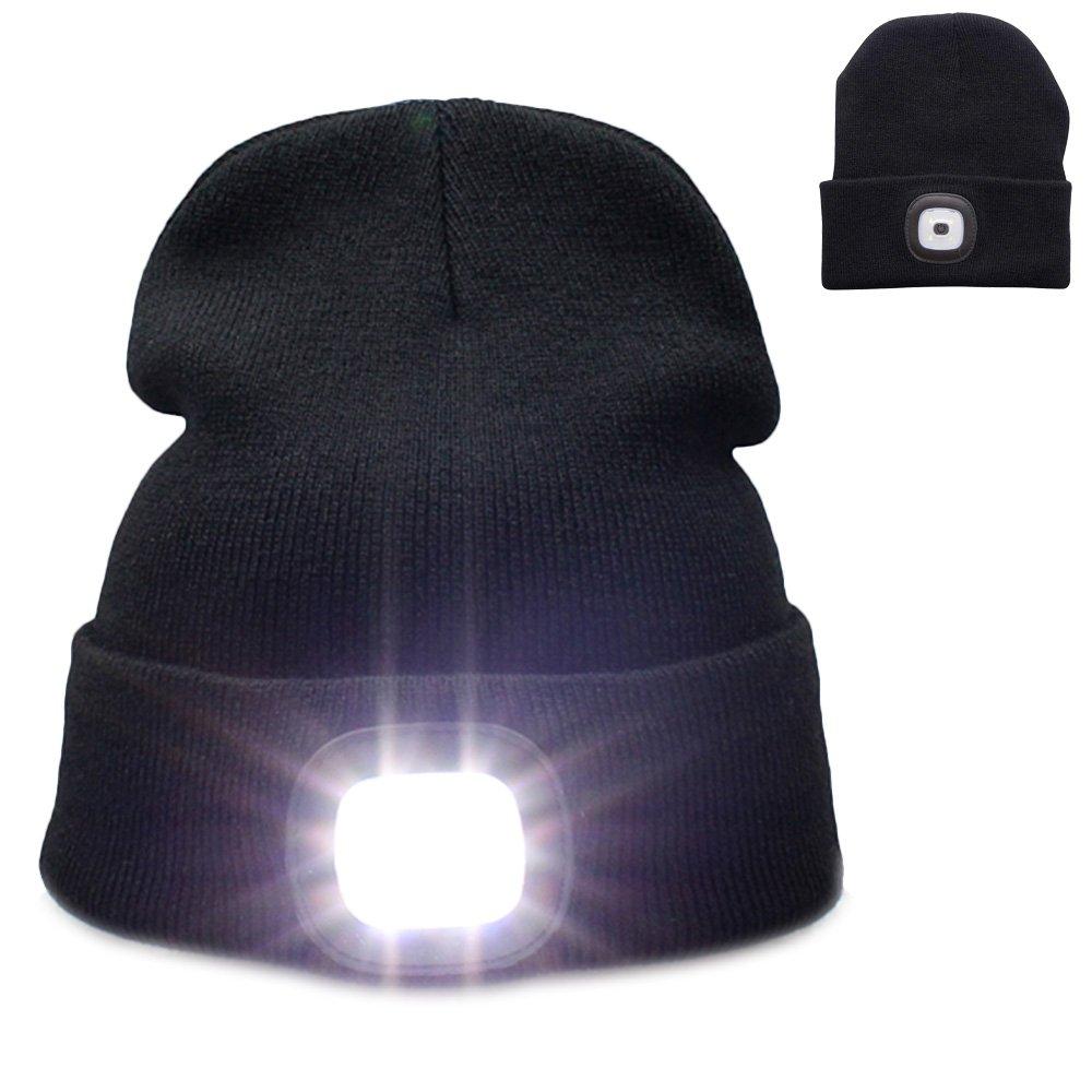 Campeggio Nero Unisex Berretto Lavorato a Maglia con Luce per la Caccia Kingnew Faro Lampada Frontale Ricaricabile Beanie Cappello con LED Bianchi