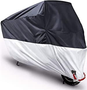 Moped Covers Waterproof, Motorcycle Scooter Cover Prevent Rain Sun UV Dustproof 210D for Any Season and Weather with Lock Holes Rust Resistance and Buckle - Black Silver - M 78