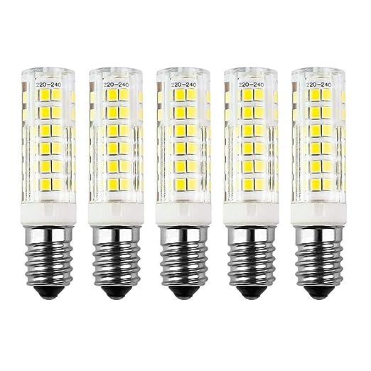 Paquete de 5 bombillas LED SES de 7 W E14, luz blanca cálida ...
