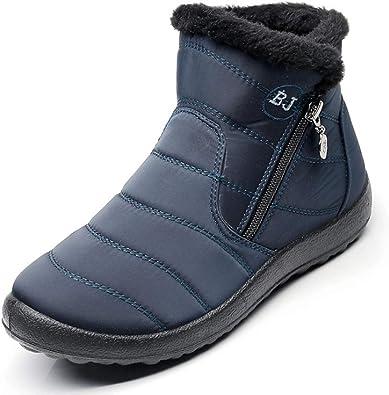 MU CHAO Botas de Nieve para Mujer Zapatos de algodón de Invierno Cremallera Lateral Impermeable Antideslizante ...