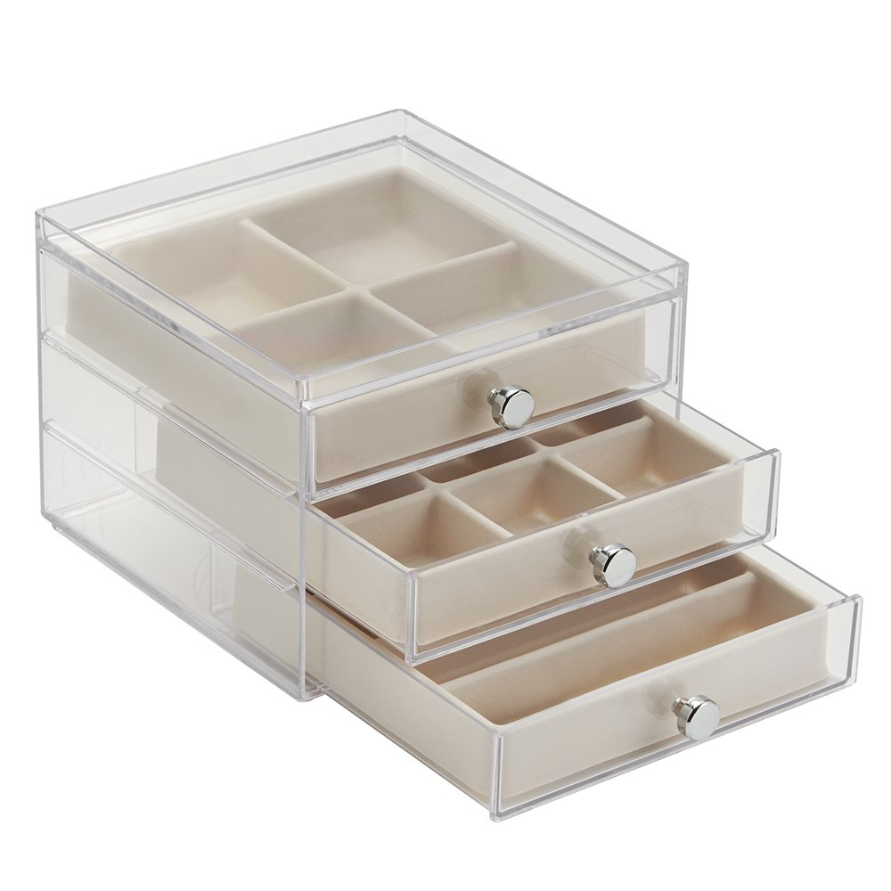 Amazon.com: InterDesign 3 Drawer Jewelry Earrings Necklaces Bracelets  Organizer Holder Box, Clear/Ivory: Home & Kitchen