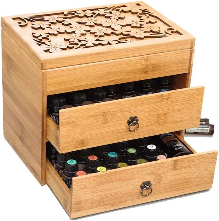 エッセンシャルオイルストレージボックス 3ティアエッセンシャルオイルボックス木製収納ケースは、ホームのためにエレガントな装飾デザインでは5、10&15ミリリットルボトルを保護します キャリア&エッセンシャルオイル (Color : Natural, Size : 26X18X24.5CM)