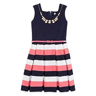 Amazon Knit Works Girl Striped Dress W Necklace Belt Navy 7
