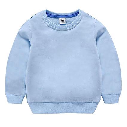 42bc9e259 Amazon.com  HAXICO Unisex Kids Solid Cotton Pullover Sweatshirt ...