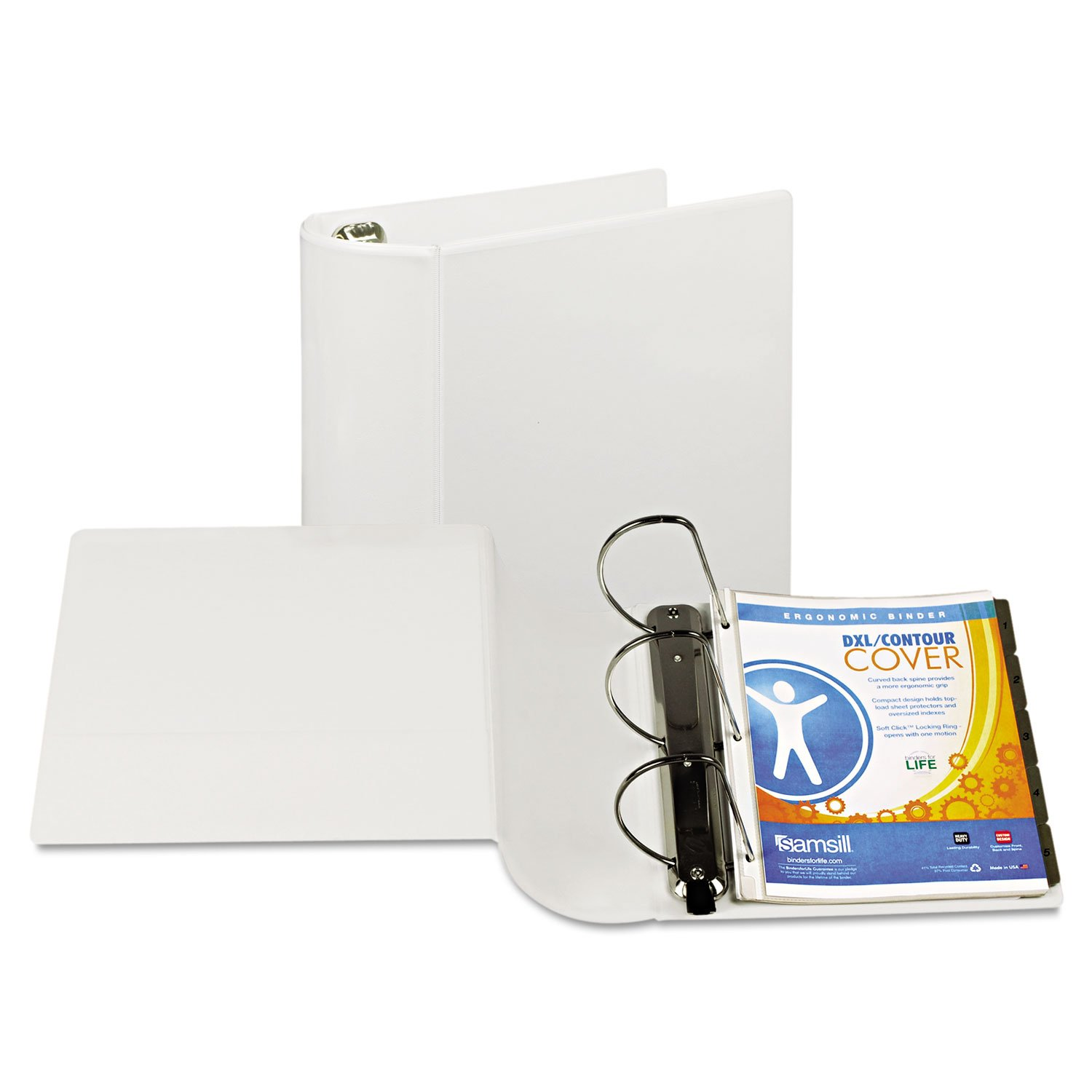 Top Performance Dxl Angle-D View Binder, 5'' Capacity, White By: Samsill
