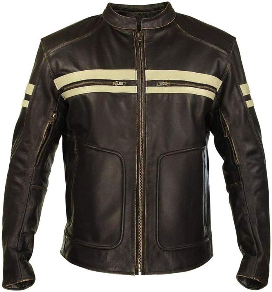 Vintage Leathers Mens Biker Motorcycle Brown and White Embossed Skull Leather Jacket
