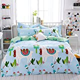 Mumgo Home Bedding Sets for Kids Boys Girls Cute Sheep Pattern Duvet Cover Set 100% Cotton 4 Piece Full/Queen Size without Comforter