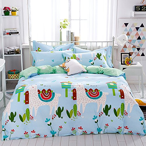 Mumgo Home Bedding Sets for Kids Boys Girls Cute Sheep Pattern Duvet Cover Set 100% Cotton 4 Piece Full/Queen Size without Comforter by Mumgo