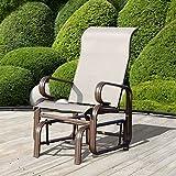 Outsunny Glider Rocking Chair Single Seater Rocker Seat Garden Swing Chair Patio Furniture Textilene Aluminum Frame