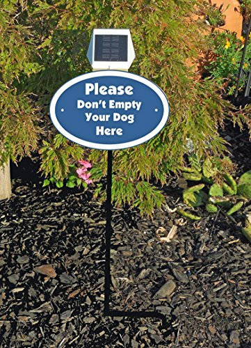 (Custom Lighted Lawn Sign - Lawn Plaque Personalized With Your Own Words - Solar Powered Light - # C069SS - Use For Beware of Dog, Private Drive, No Trespassing or Soliciting, No Dog Poop, etc.)