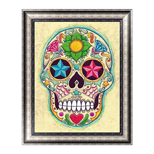 Taloyer 5D DIY Crystals Diamond Rhinestone Painting Cross Stitch Pictures of Crystals Embroidery Kits Home Wall Art Display Decor Crafts (Christmas (Skull Embroidery Design)