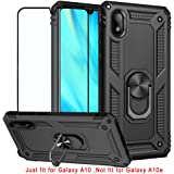 BestShare for Samsung Galaxy A10 Case & Tempered Glass Screen Protector, Rugged Hybrid Armor Anti-Scratch Shockproof Kickstand Cover Compatible Magnetic Car Mount Ring Grip, Black