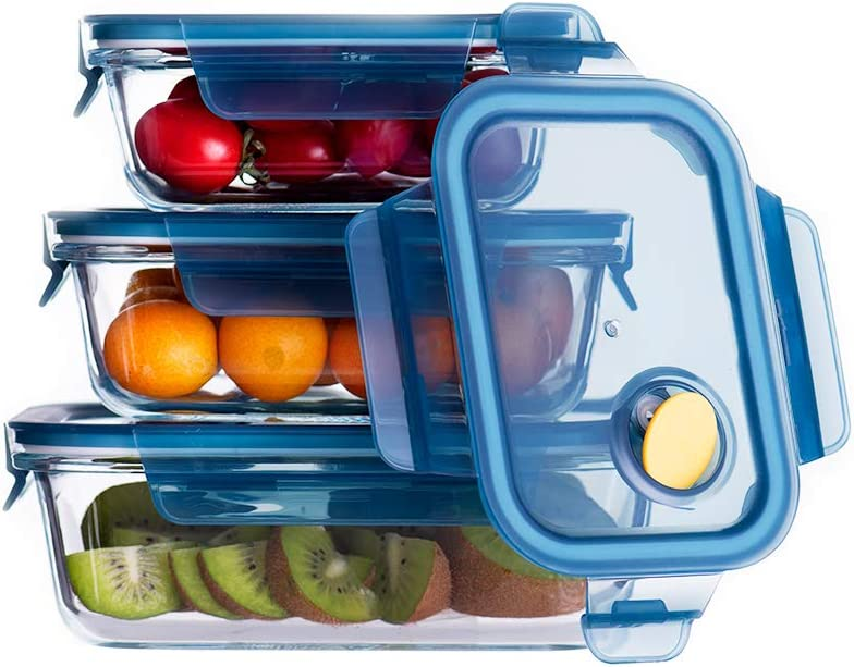 Cubirr 3PCS 1 Compartment Food Containers Containers Leakproof Glass Food Storage Containers with Lids - Friut Prep Containers Glass Storage Containers with Lids (Round/13oz/23oz/32oz)