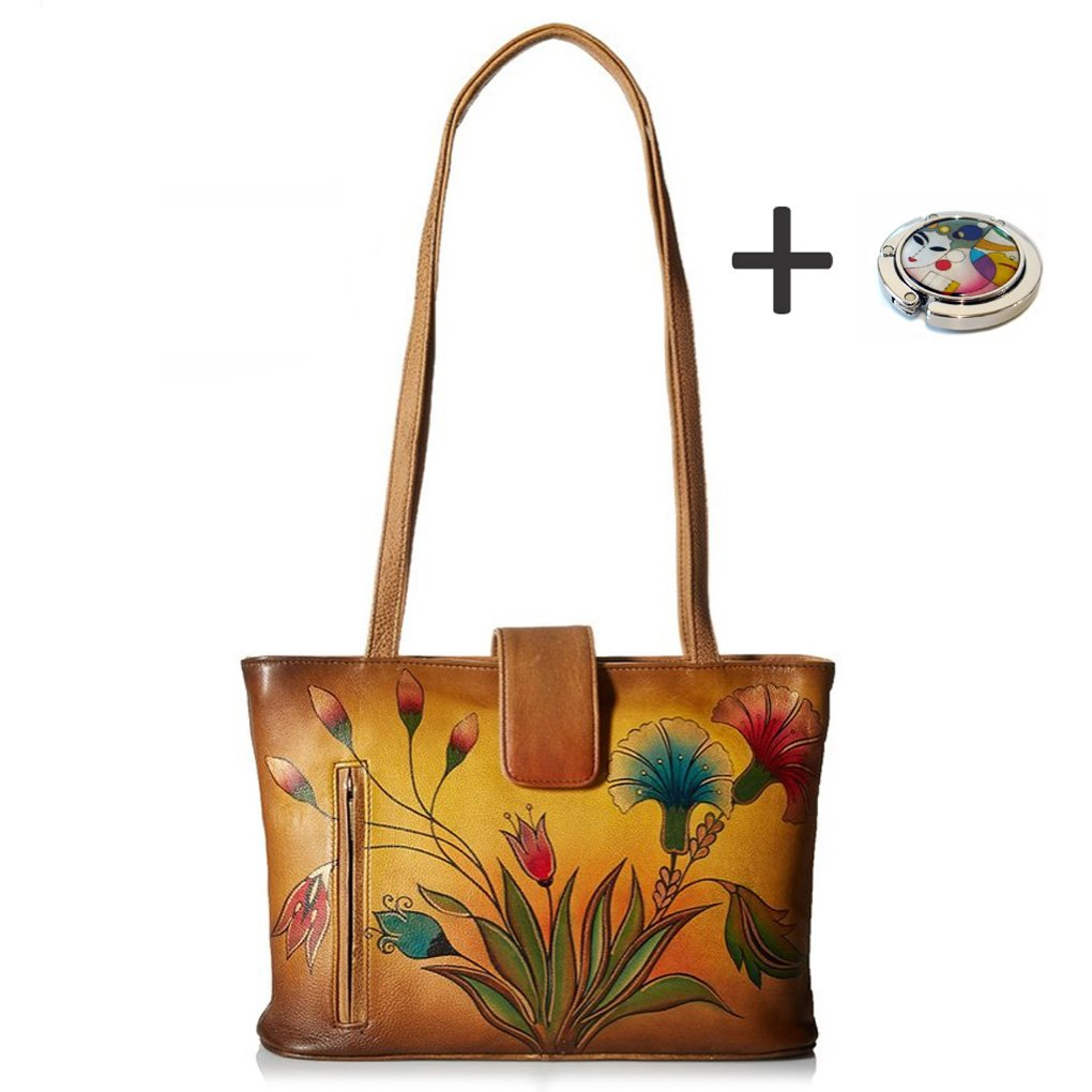 Anna By Anuschka Tote Handbag - Hand Painted Design on Real Leather - Free Purse Holder (Shoulder Turkish Garden)