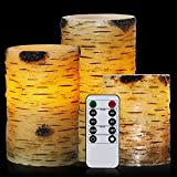 comenzar Candles Birch, Flameless Candles Set of 4 5″ 6″ Candles Remote Birch Bark Real Wax Pillar Remote Timer Review