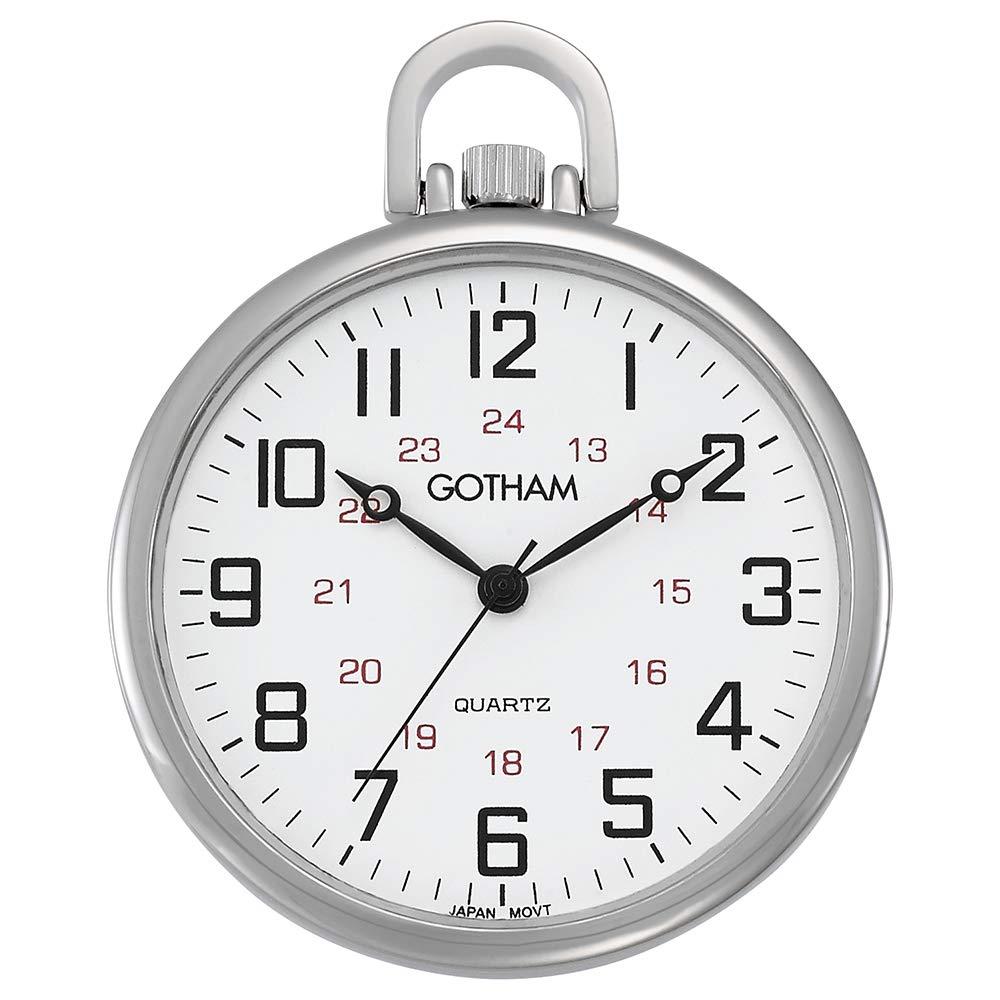 Gotham Men s Silver-Tone Ultra Thin Railroad Open Face Quartz Pocket Watch GWC15026S