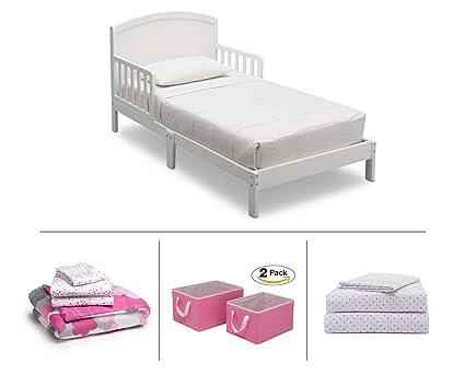 Amazon.com: Delta Children Toddler Bedroom Set, Girls 4-Piece (White ...