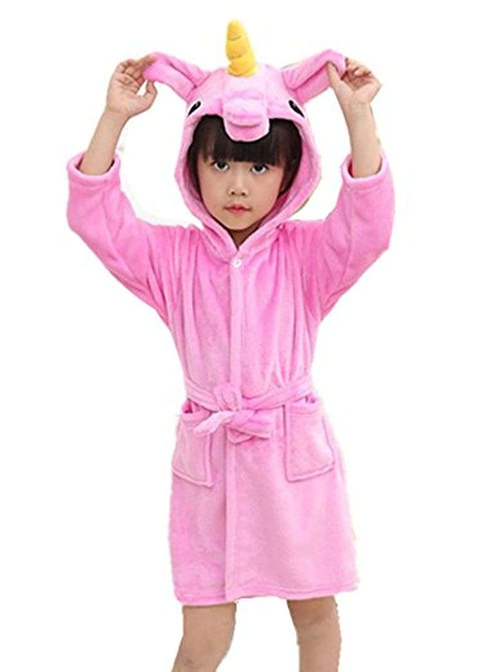 Kid's Unicorn Hooded Bathrobe Children Animal Pajamas Sleep Robe For Boys Girls Songsongbear