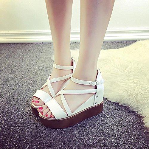 LvYuan Sandalias del verano de las mujeres / manera ocasional de la comodidad / Peep-dedo del pie hueco / parte inferior gruesa / talones de cuña / zapatos planos Blanco