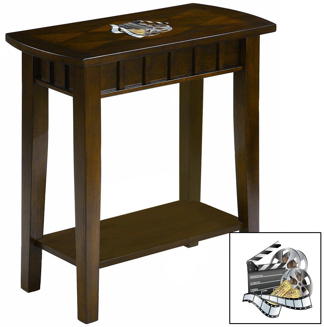 NEW! Chairside Table in an Espresso Medium Brown Finish Featuring the Choice of Your Favorite Novelty Themed Logo! (Movie Reel)