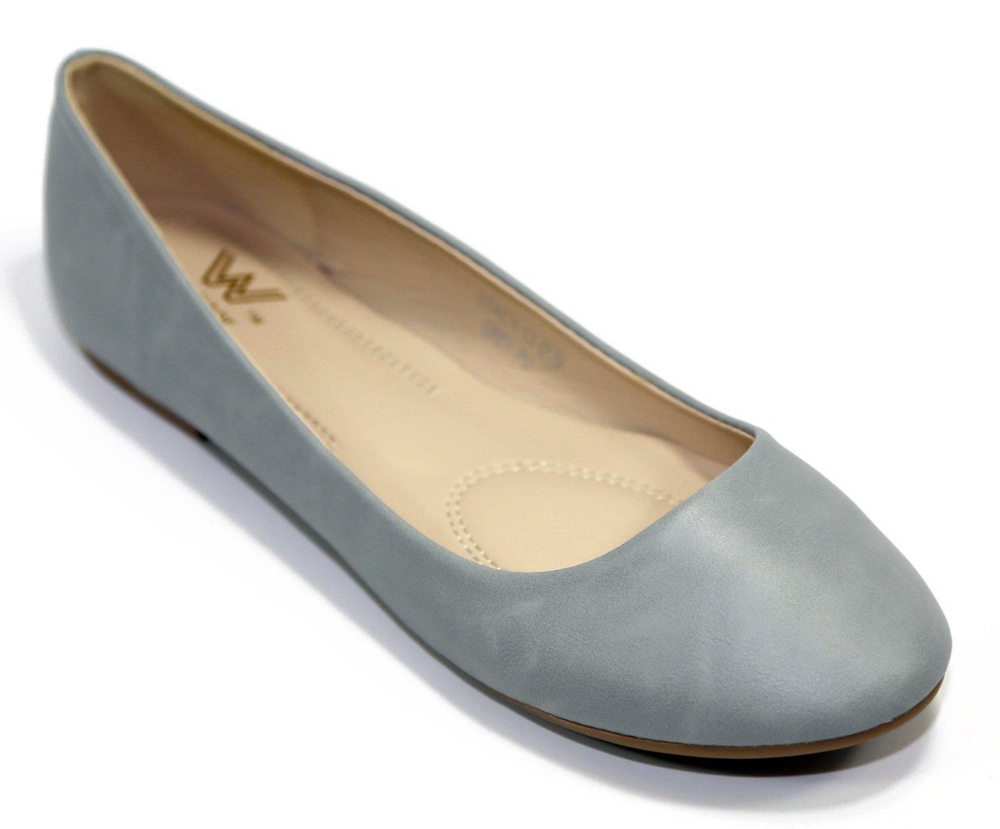 Walstar Women's Basic Round Toe Ballet Flat Shoes B015YJ6GP4 7 B (Run Small, Order 1/2 size UP)|Grey Pu