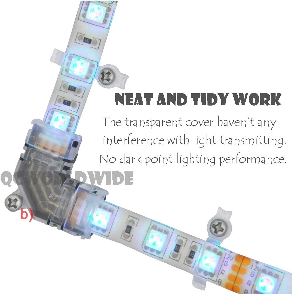 LED Strip Light Connectors,10mm 4 Pin 5050 RGB LED Light Strip Connectors Kit,Includes 8 Types of Solderless Connectors for Multi-Color LED Strip Connection 8 Types of Non-Waterproof Version
