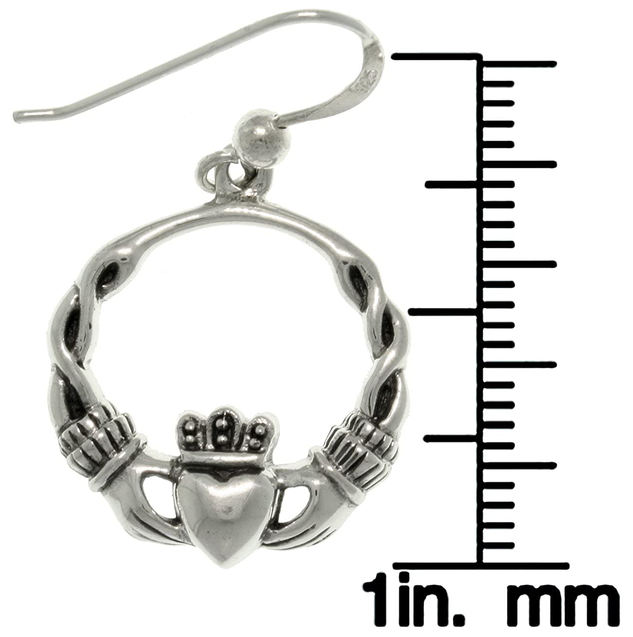 2008a5883 Amazon.com: Jewelry Trends Celtic Claddagh Heart with Crown Sterling Silver  Dangle Hoop Earrings: Dangle Earrings: Jewelry
