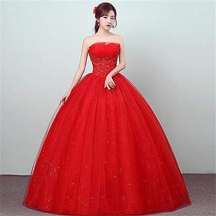 a38f1a881 Vestido de Novia, para Mujer Princesa roja Tube Top sin Tirantes de ...