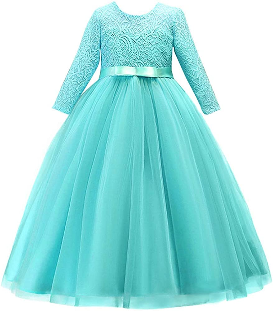 Iwemek Girls 3 4 Sleeve Tulle Lace Flower Wedding Bridesmaid Dress Floor Length A Line Formal Pageant Long Prom Evening Gown