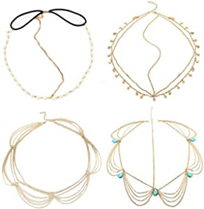 Diademas para la cabeza (4 unidades), color turquesa, pelo bohemio, accesorio, para mujeres y niñas, de BlueSpace