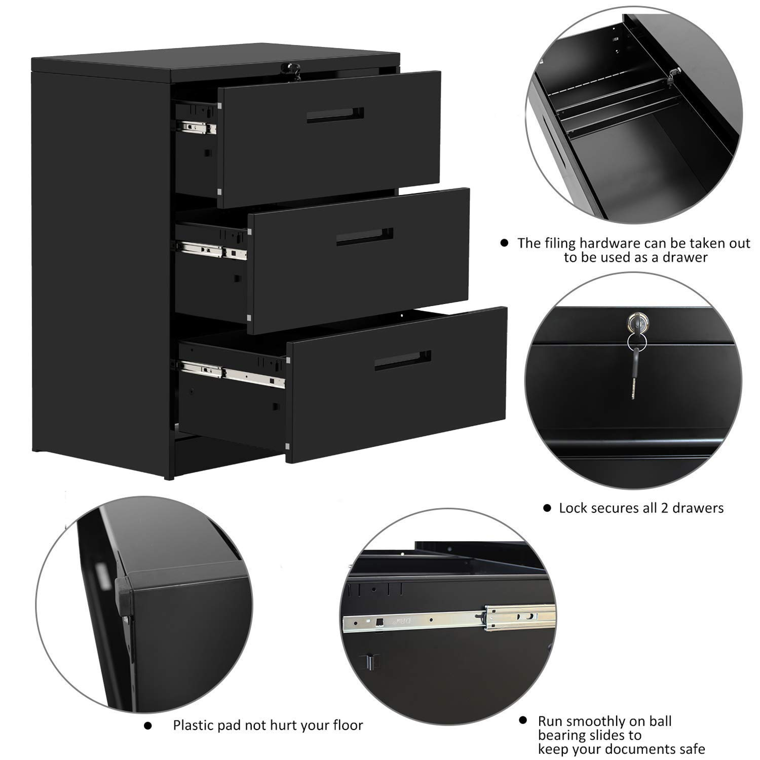 Merax lateral File Cabinet 2 Drawer Locking Filing Cabinet 3 Drawers Metal Organizer with Heavy Duty Hanging File Frame for Legal & Business Files Office Home Storage by Merax (Image #2)
