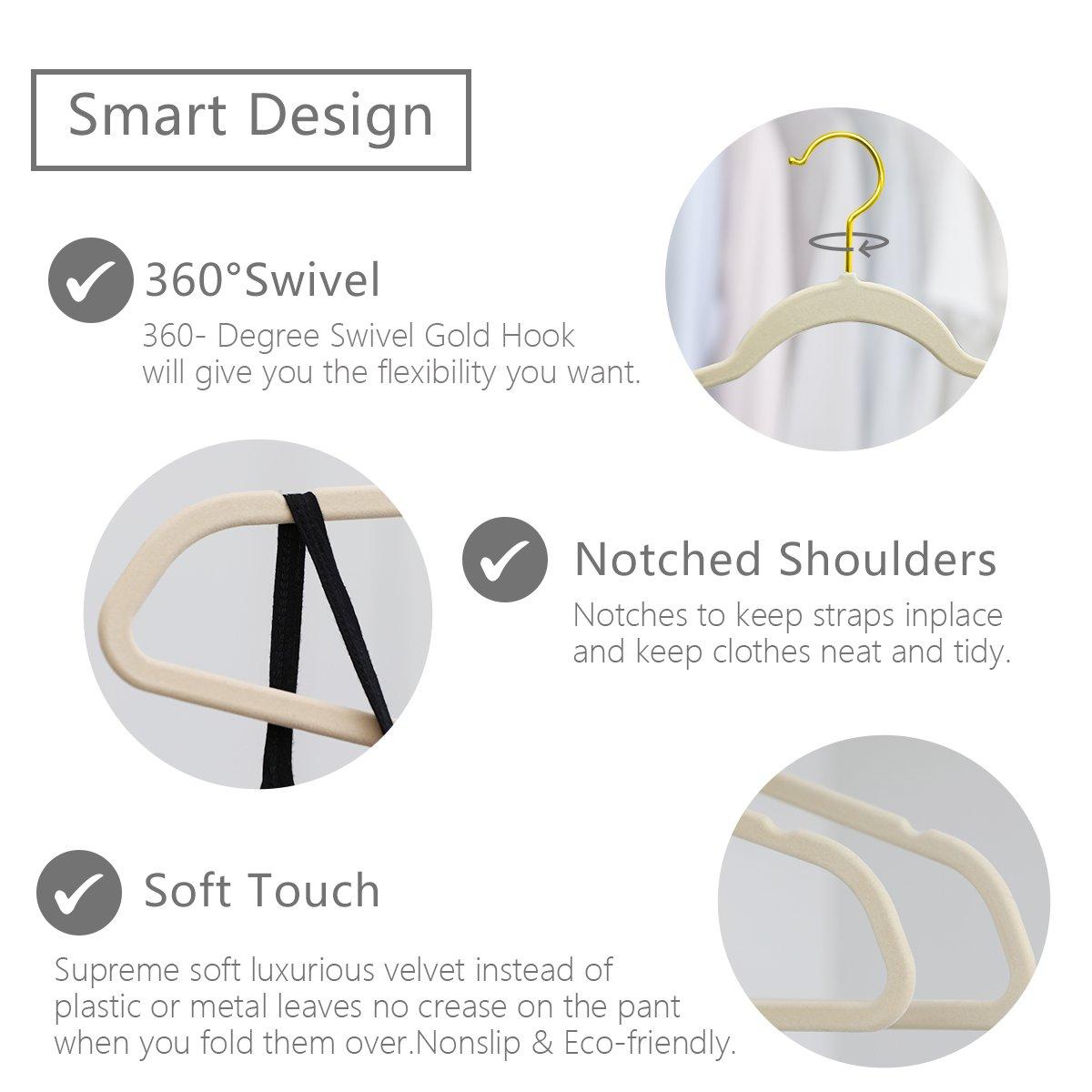 Heavyduty- Non Slip Gold Hooks,Space Saving Clothes Hangers Velvet Suit Hangers Ivory MIZGI Premium Velvet Hangers Ivory Pack of 30