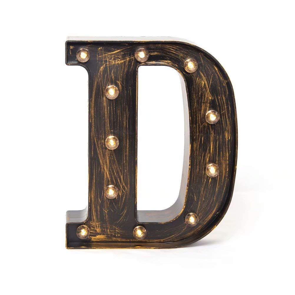 Glintee LED Marquee Letter Lights Vintage Style Light Up 26 Alphabet Letter Signs for Wedding Birthday Party Christmas Home Bar Cafe Initials Decor (D)