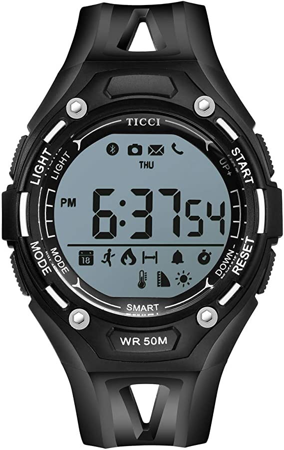 T0006 Electronic Fitness Tracker Digital Sports Bluetooth Smart Watch Waterproof Pedometer Remote Camera Incoming Call or Message Alert Reminder for iOS & Android Smartwatch Men & Boys (Black Strap)