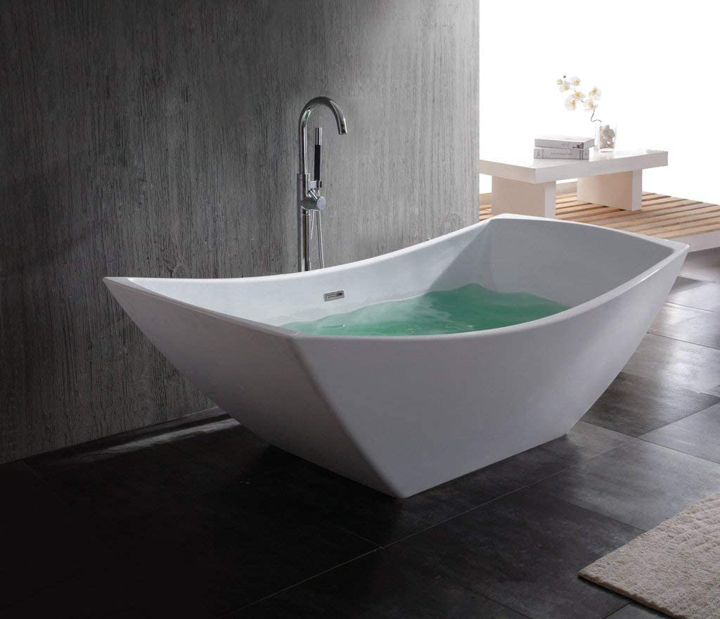 Adm Rectangular Stone Resin Freestanding Bathtub 66 9 Matte