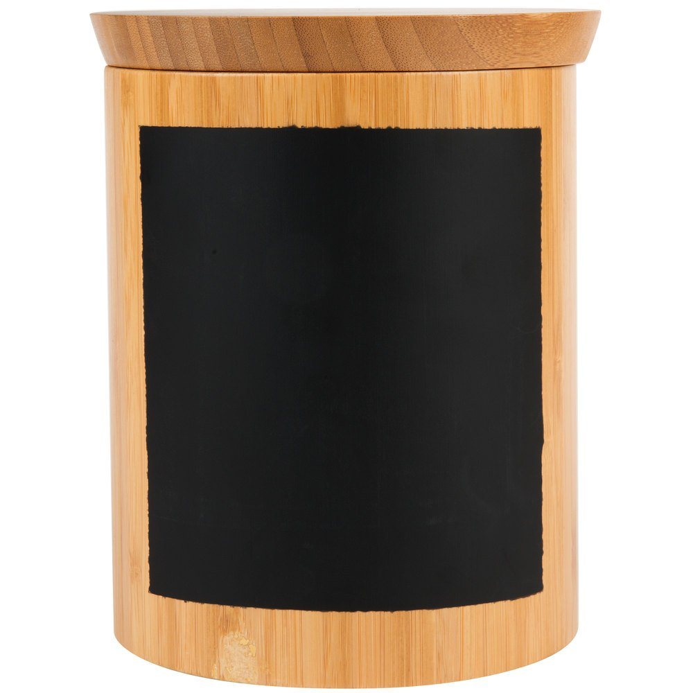 Tablecraft RCBR668 Write-On 6'' x 8'' Bamboo Round Polypropylene Lined Storage Container with Chalkboard Pack of 18 by TableTop King