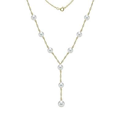 fa4281d332ce Lariat Tin Cup Estación cadena de oro collar blanco de agua salada Akoya cultivadas  perla joyas para las mujeres  Amazon.es  Joyería